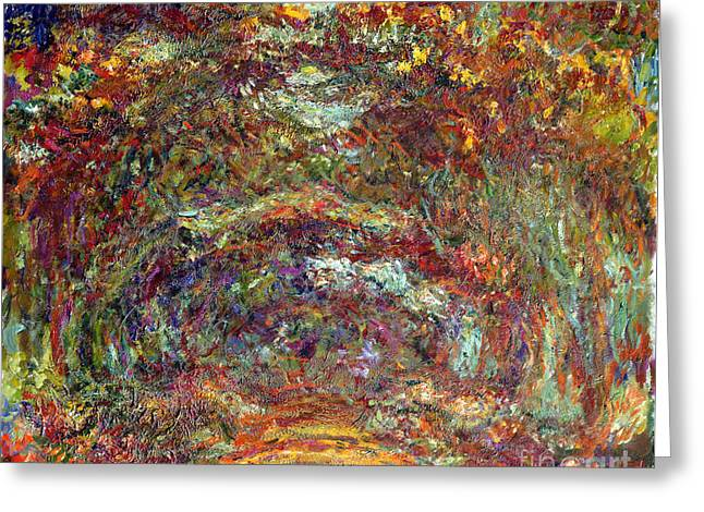 Lane Greeting Cards - The Rose Path Giverny Greeting Card by Claude Monet