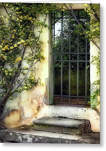 Trellis Greeting Cards - The Rose Vined Door Greeting Card by Lynn Andrews