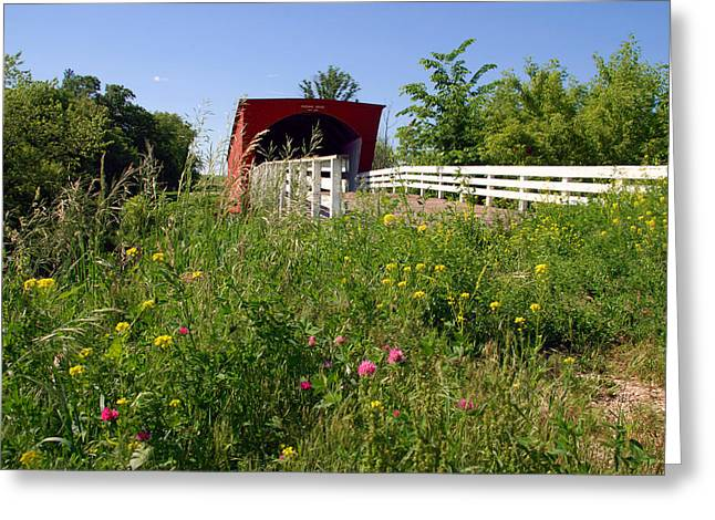 Famouse Greeting Cards - The Roseman Bridge in Madison County Iowa Greeting Card by Susanne Van Hulst