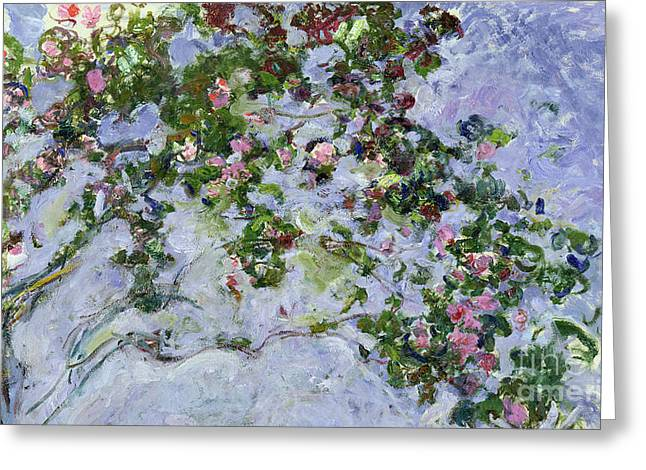 Botany Greeting Cards - The Roses Greeting Card by Claude Monet