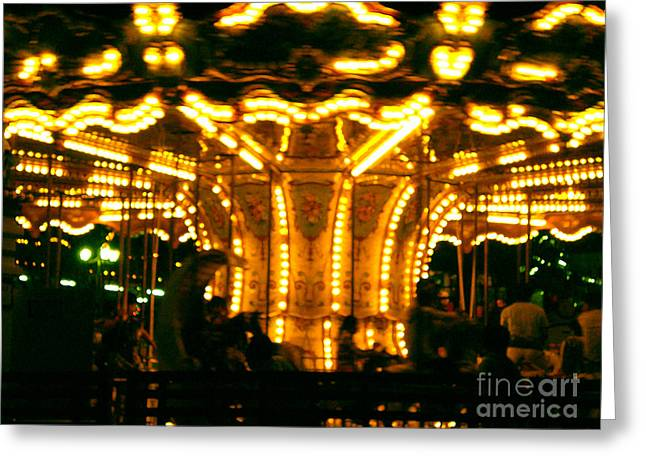 Galloper Greeting Cards - the Roundabout Greeting Card by Dena Rupp