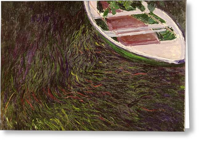 Overhang Greeting Cards - The Rowing Boat Greeting Card by Claude Monet