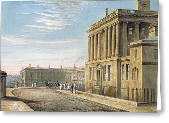 Georgian Paintings Greeting Cards - The Royal Crescent Greeting Card by David Cox