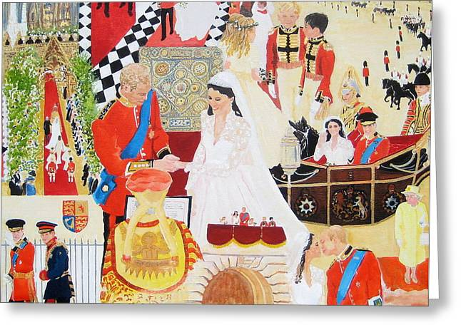Family Buckingham Palace Greeting Cards - The Royal Wedding Greeting Card by Pat Barker