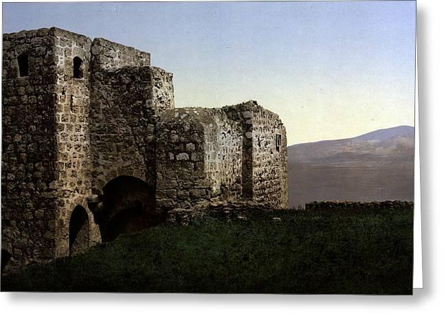 Holyland Greeting Cards - The Ruins Jezreel Holy Land Greeting Card by Munir Alawi