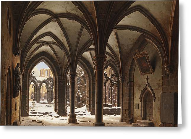 Adolph Greeting Cards - The ruins of the monastery Walkenried in winter Greeting Card by Celestial Images