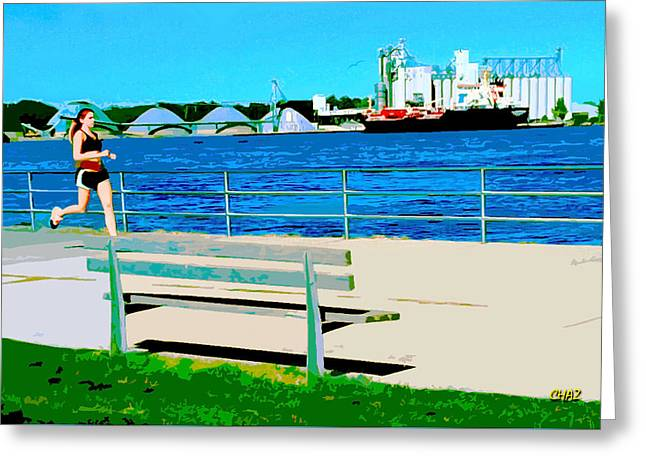 Canada Sports Paintings Greeting Cards - The Runner Greeting Card by CHAZ Daugherty