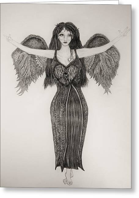 Night Angel Greeting Cards - The Runner Greeting Card by Wendy Wunstell