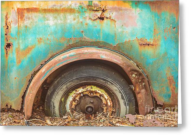 Rusted Cars Greeting Cards - The Rusty Scrap Car Greeting Card by Martin Bergsma