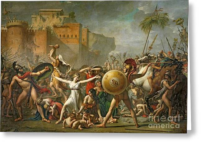 Les Greeting Cards - The Sabine Women Greeting Card by Jacques Louis David
