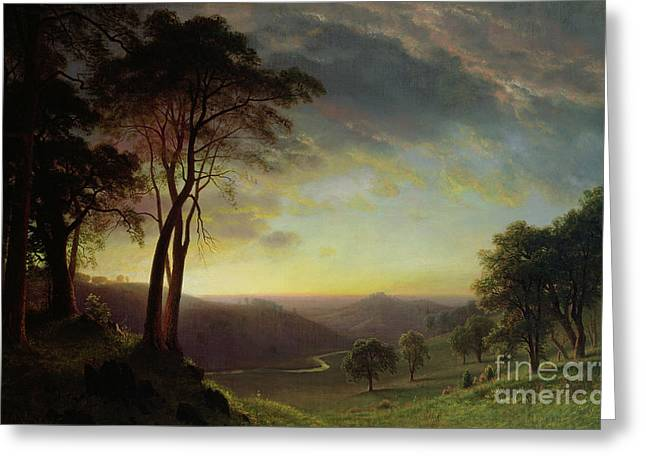 Picturesque Paintings Greeting Cards - The Sacramento River Valley  Greeting Card by Albert Bierstadt