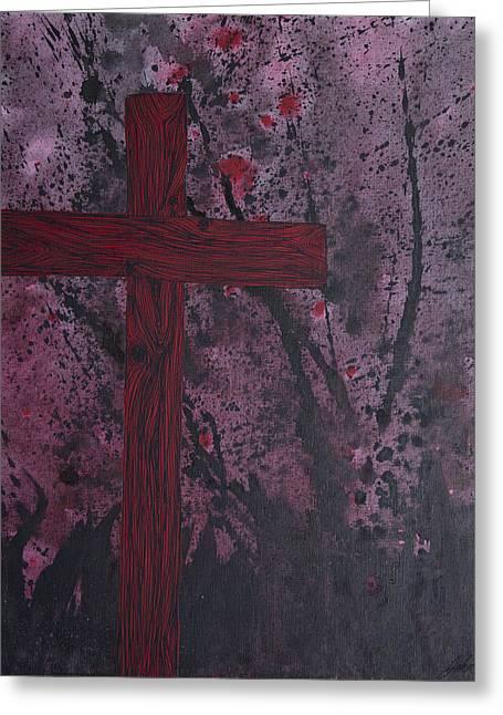 Crucifix Mixed Media Greeting Cards - The Sacrifice Greeting Card by John Bainter