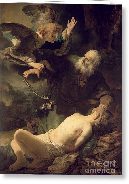 Isaac Greeting Cards - The Sacrifice of Abraham Greeting Card by Rembrandt