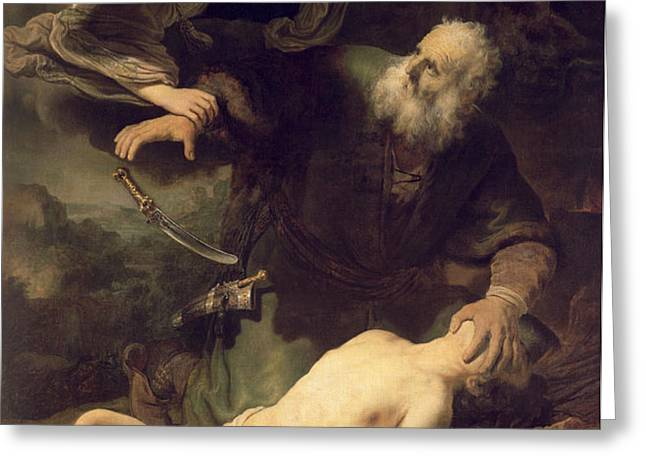 The Sacrifice of Abraham Greeting Card by Rembrandt