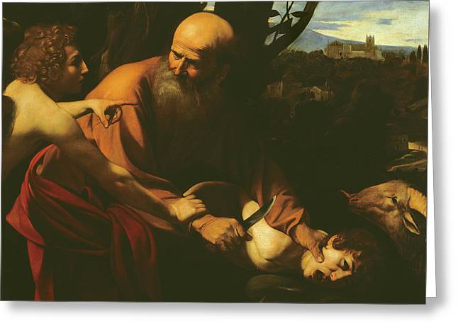 Isaac Greeting Cards - The Sacrifice of Isaac Greeting Card by Caravaggio