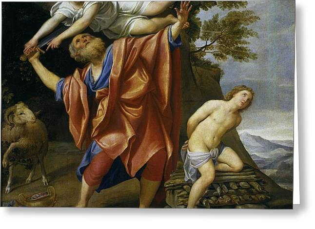 1628 Greeting Cards - The Sacrifice of Isaac Greeting Card by Celestial Images