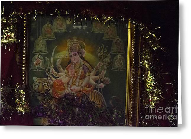 Goddess Durga Photographs Greeting Cards - The Sadhus Cave Greeting Card by Moira Rowe