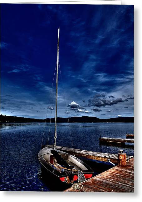 Boats At The Dock Greeting Cards - The Sailboat Greeting Card by David Patterson