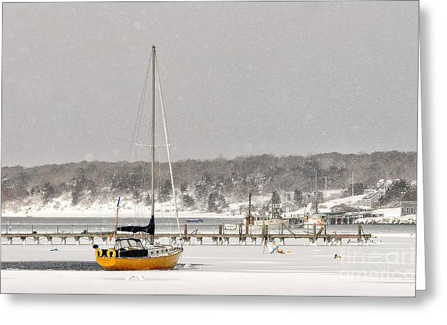 Snowstorm Greeting Cards - The sailboat Korovin is moored in a mostly frozen Stage Harbor i Greeting Card by Matt Suess