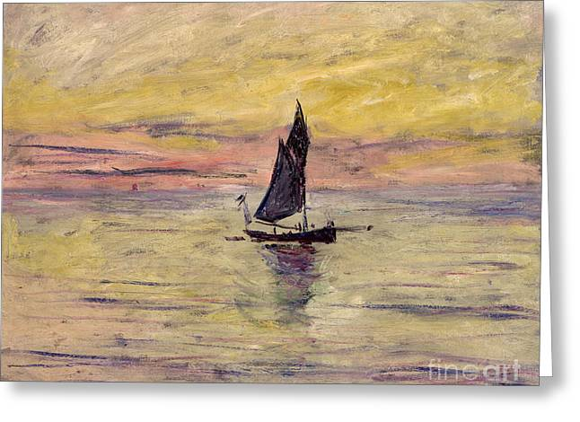 Ocean Sailing Greeting Cards - The Sailing Boat Evening Effect Greeting Card by Claude Monet