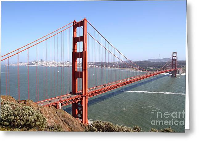 Art Deco Greeting Cards - The San Francisco Golden Gate Bridge . 7D14507 Greeting Card by Wingsdomain Art and Photography