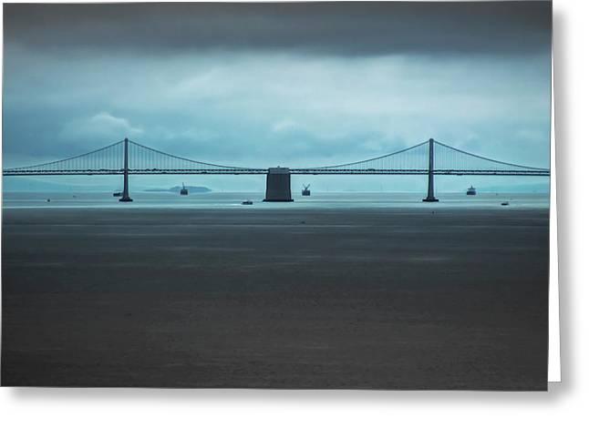 The San Francisco - Oakland Bay Bridge Greeting Card by Wes Jimerson