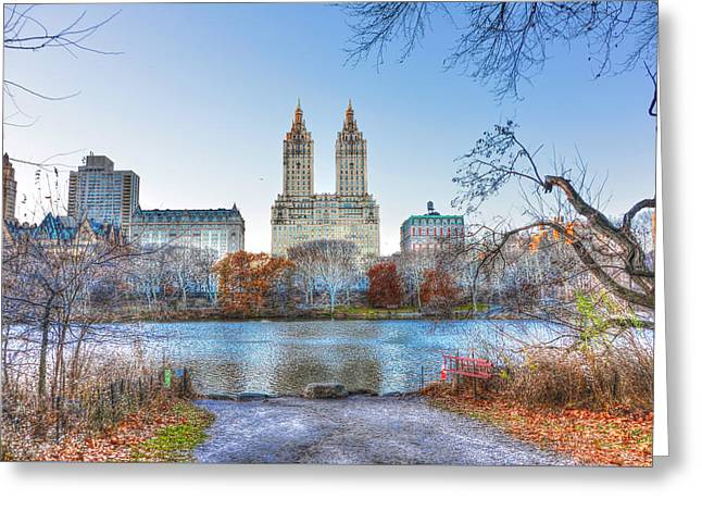 San Remo Greeting Cards - The San Remo Building from Central Park Greeting Card by Randy Aveille