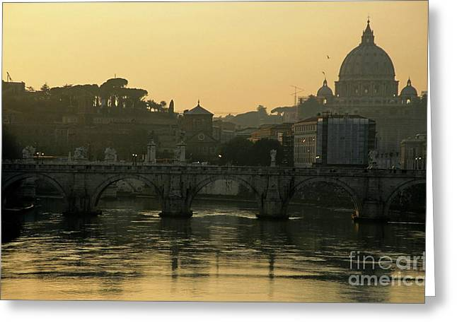 Basilica Di San Pietro Greeting Cards - The Sant Angelo Bridge and the Papal Basilica of Saint Peter at sunset in Vatican City Greeting Card by Sami Sarkis