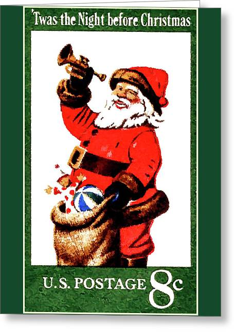 The Santa Claus Stamp Greeting Card by Lanjee Chee