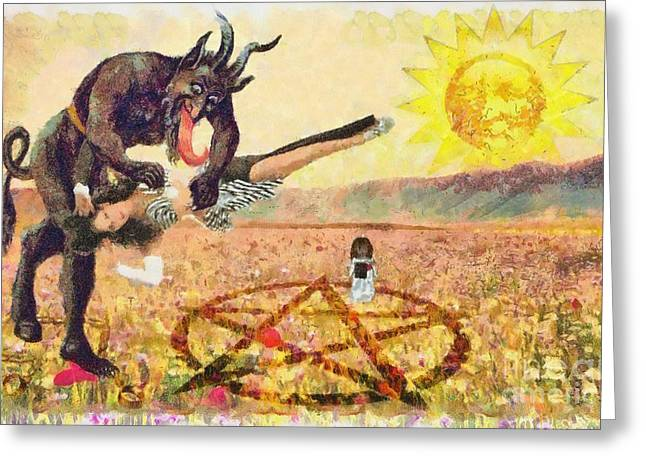 The Satanic Rituals Of Canadaninases Greeting Card by Caffrey Fielding