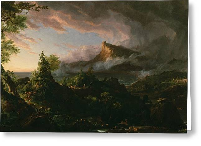 The Savage State Greeting Card by Thomas Cole