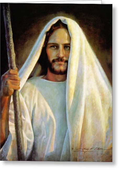 Jesus Christ Paintings Greeting Cards - The Savior Greeting Card by Greg Olsen