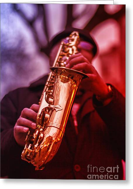 Coorful Greeting Cards - The Sax Man  Greeting Card by Bouquet  Of arts