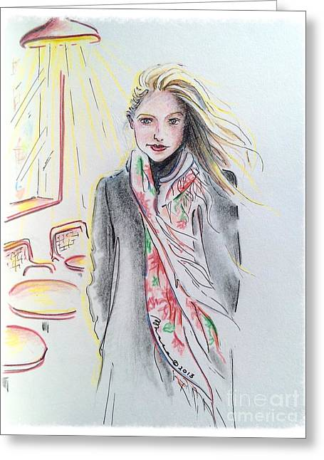 Streetlamp Drawings Greeting Cards - The Scarf Greeting Card by Barbara Chase