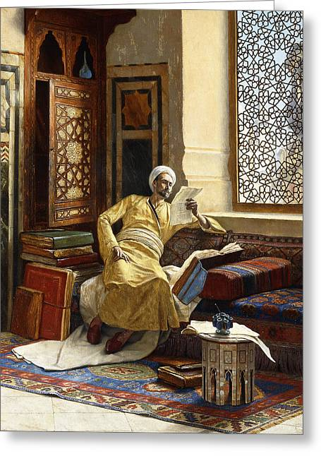 Deep In Thought Paintings Greeting Cards - The Scholar Greeting Card by Ludwig Deutsch