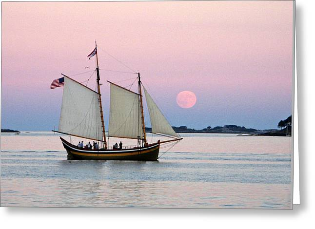Moonrise Greeting Cards - The Schooner Fame Greeting Card by Len Burgess