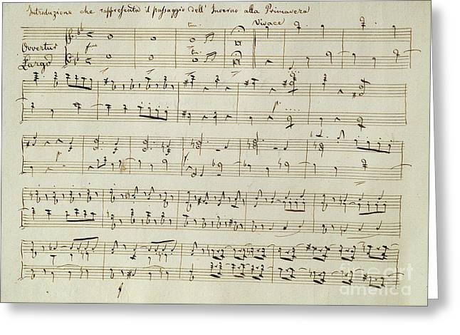 The Score Of Spring Greeting Card by Joseph Haydn