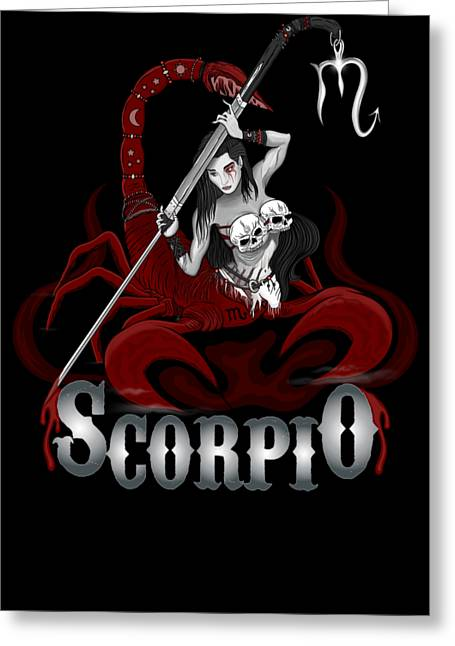 Greeting Card featuring the drawing The Scorpion - Scorpio Spirit by Raphael Lopez