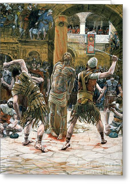 Christian Paintings Greeting Cards - The Scourging Greeting Card by Tissot