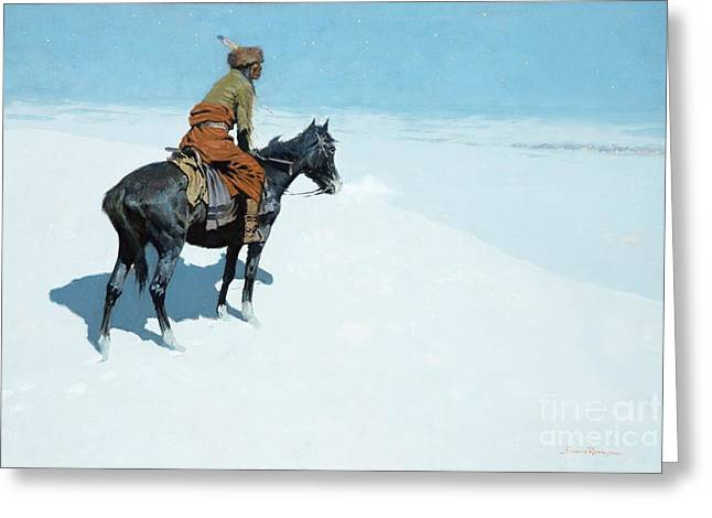 Best Sellers -  - Snow-covered Landscape Greeting Cards - The Scout Friends or Foes Greeting Card by Frederic Remington