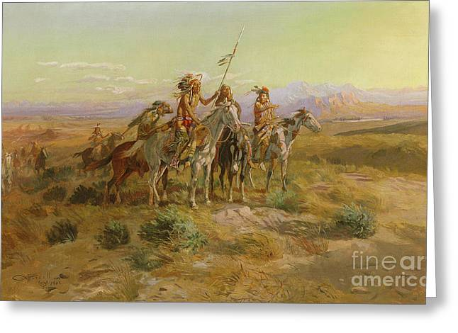 The Scouts Greeting Card by Charles Marion Russell