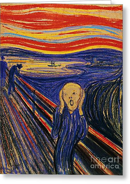 Screaming Mixed Media Greeting Cards - The Scream Greeting Card by Pg Reproductions