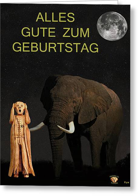 Olive Wood Sculpture Mixed Media Greeting Cards - The Scream World Tour African Elephant Happy birthday German Greeting Card by Eric Kempson