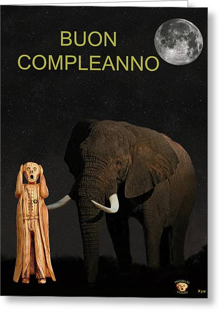 Olive Wood Sculpture Mixed Media Greeting Cards - The Scream World Tour African Elephant Happy birthday Italian Greeting Card by Eric Kempson