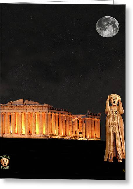 Acroplolis Greeting Cards - The Scream World Tour Athens Greeting Card by Eric Kempson