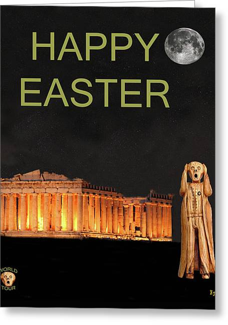 Acroplolis Greeting Cards - The Scream World Tour Athens Happy Easter Greeting Card by Eric Kempson