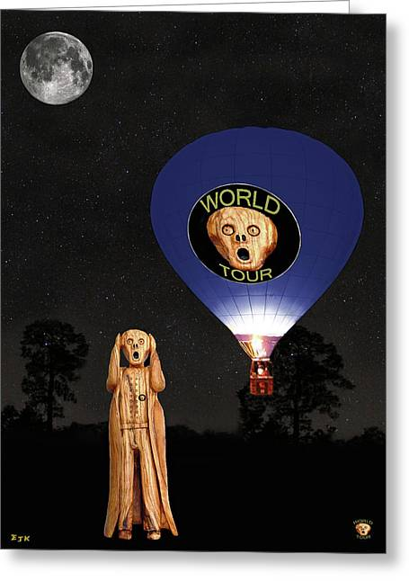 Edvard Munch Mixed Media Greeting Cards - The Scream World Tour  Ballooning  Greeting Card by Eric Kempson