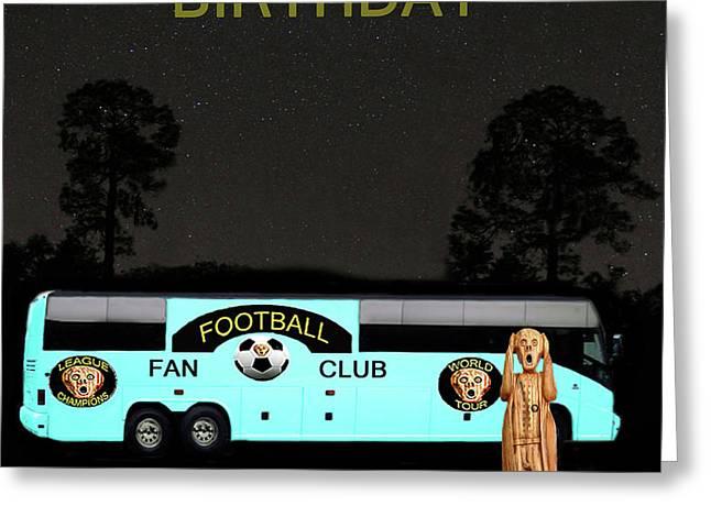 The Scream World Tour Football tour bus Happy Birthday Greeting Card by Eric Kempson