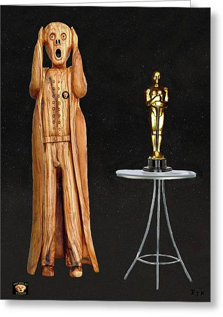 Theatre World Award Greeting Cards - The Scream World Tour Oscars Greeting Card by Eric Kempson