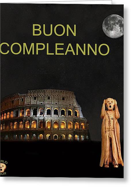 Edvard Munch Mixed Media Greeting Cards - The Scream World Tour Rome Happy Birthday Italian Greeting Card by Eric Kempson